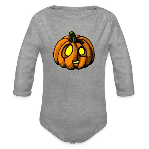 Pumpkin Halloween scribblesirii - Langærmet babybody, økologisk bomuld