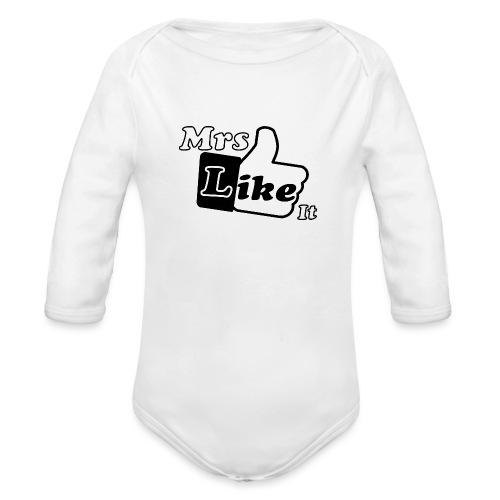 Mrs Like it - shirt (zwart-wit) - Baby bio-rompertje met lange mouwen