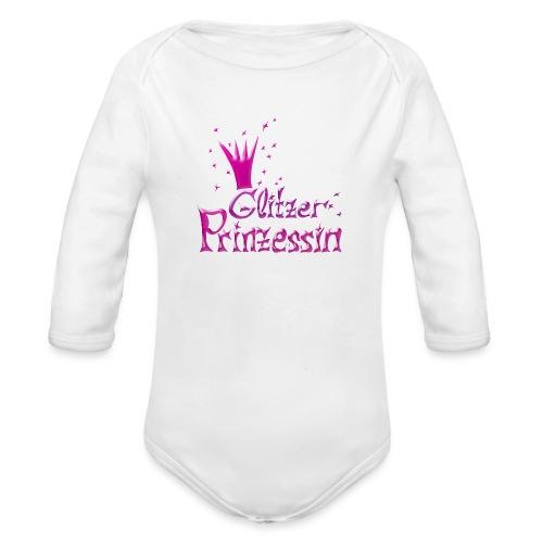 Rosa Glitzer Prinzessin - Baby Bio-Langarm-Body