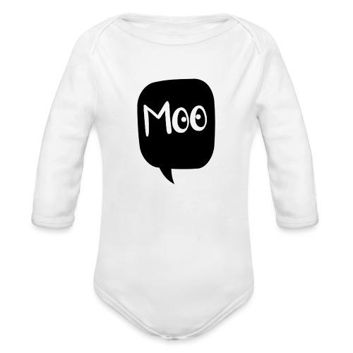 bubble moo white design - Organic Longsleeve Baby Bodysuit