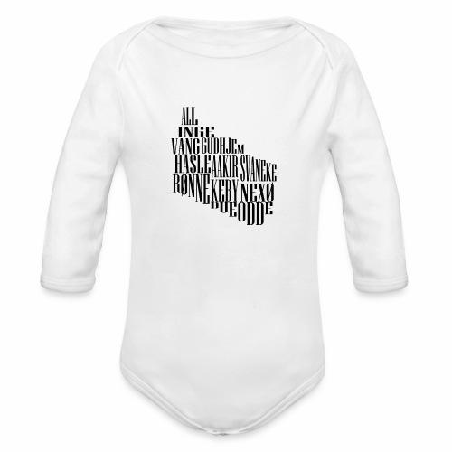 Bornholm tekst - Langærmet babybody, økologisk bomuld