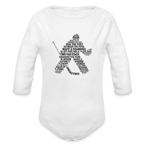 Goalie Lingo - Grunge Text Version (black print) - Organic Longsleeve Baby Bodysuit