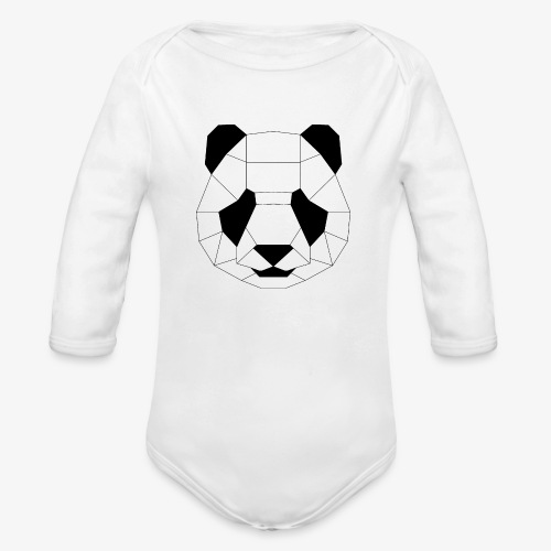 Panda schwarz - Baby Bio-Langarm-Body