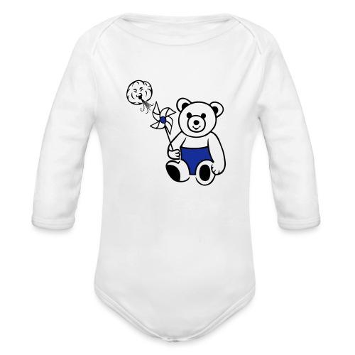Teddybär mit Windmühle - Baby Bio-Langarm-Body