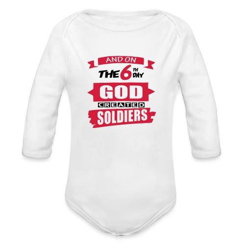 God Created Soldiers - Organic Longsleeve Baby Bodysuit