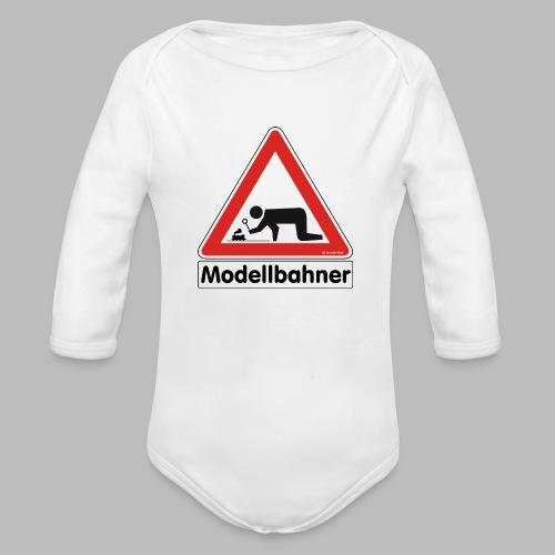 Warnschild Modellbahner Dampflok - Baby Bio-Langarm-Body