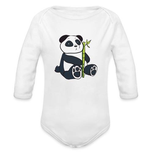 Oso Panda con Bamboo - Body orgánico de manga larga para bebé