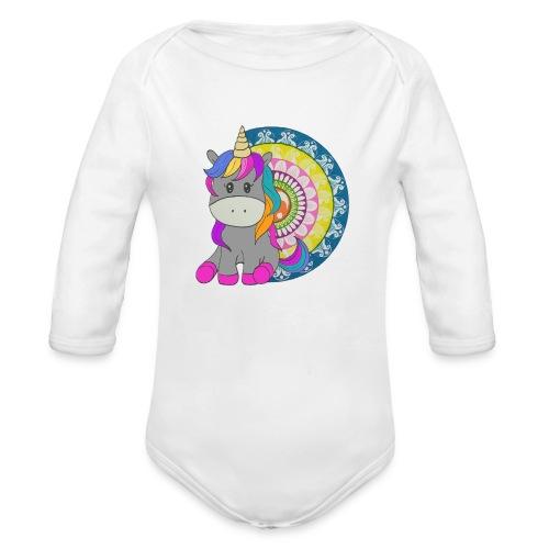 Unicorno Mandala - Body ecologico per neonato a manica lunga