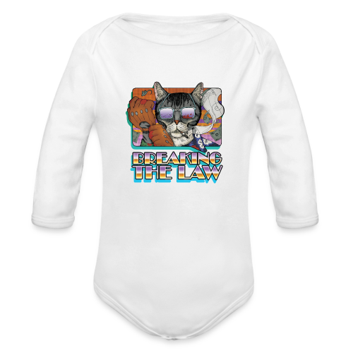 Crime Cat in Shades - Braking the Law - Ekologiczne body niemowlęce z długim rękawem