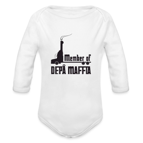 Depå Maffia svart tryck - Ekologisk långärmad babybody