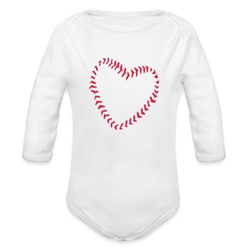 2581172 1029128891 Baseball Heart Of Seams - Organic Longsleeve Baby Bodysuit