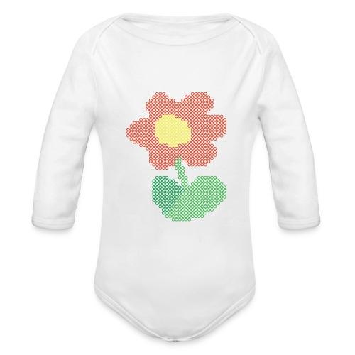 Ellys blomst - Langærmet babybody, økologisk bomuld