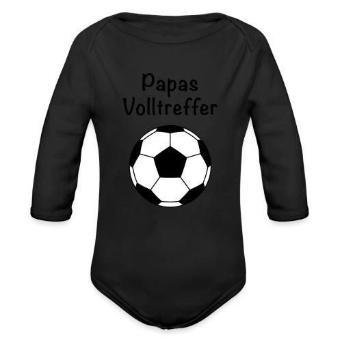 Fußball Papas Volltreffer, schwanger, Babybauch - Baby Bio-Langarm-Body