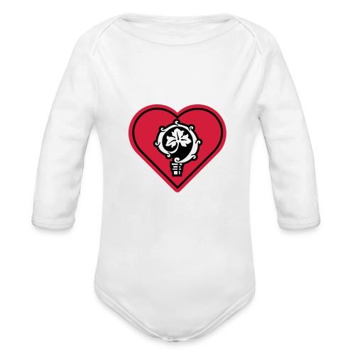 herz shirt weiss hoch 25cm ok - Baby Bio-Langarm-Body