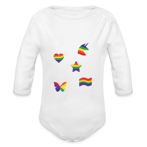 Regenbogen Sticker | LGBT | Pride - Baby Bio-Langarm-Body