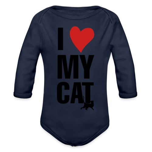 I_LOVE_MY_CAT-png - Body orgánico de manga larga para bebé