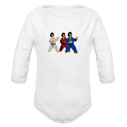 8 bit trip ninjas 1 - Organic Longsleeve Baby Bodysuit