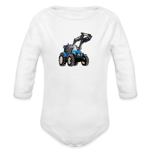 Blauer Traktor mit Frontlader - Baby Bio-Langarm-Body