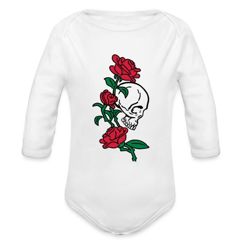 teschio e rose es123_2 - Body ecologico per neonato a manica lunga