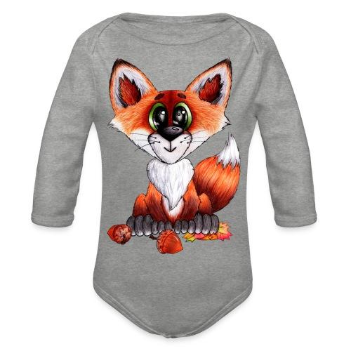 llwynogyn - a little red fox - Langærmet babybody, økologisk bomuld