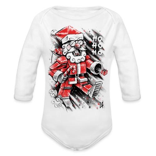 Robot Santa Claus - Organic Longsleeve Baby Bodysuit
