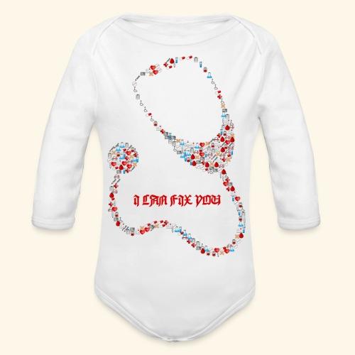 i will fix you stethoscope - Organic Longsleeve Baby Bodysuit