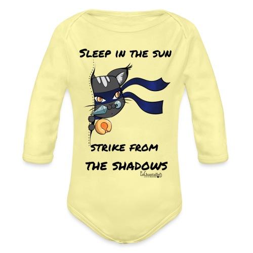 Ninja Cat gluurt vanuit shirt EnChantalled png - Organic Longsleeve Baby Bodysuit