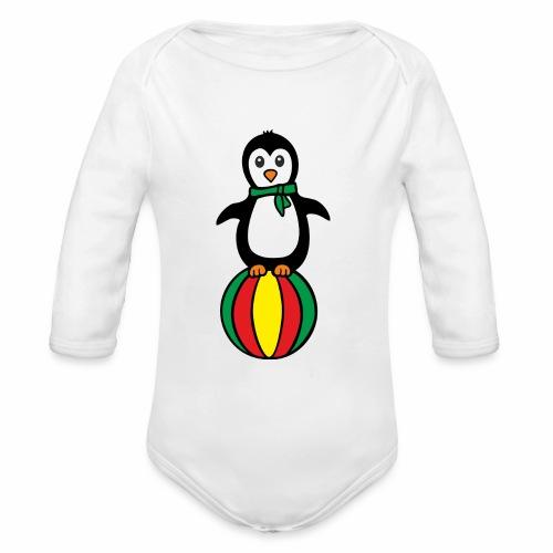 Pinguin auf einem Ball - Baby Bio-Langarm-Body