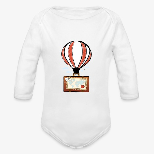CUORE VIAGGIATORE Gadget per chi ama viaggiare - Body ecologico per neonato a manica lunga