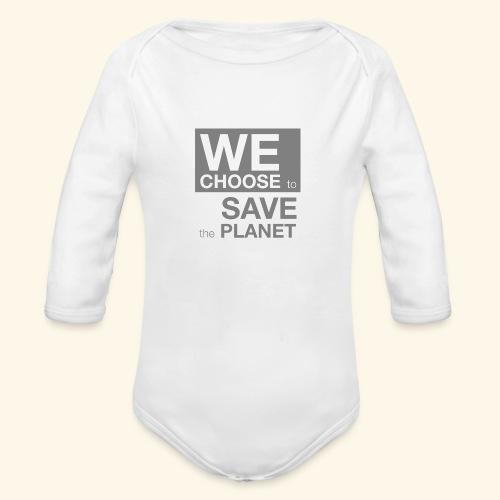 We Choose to Save the Planet grå - Økologisk langermet baby-body