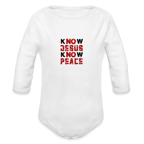 Know Jesus Know Peace (Flower Design) - Baby Bio-Langarm-Body
