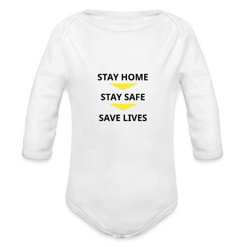 Stay Home, Stay safe, save lives. - Body orgánico de manga larga para bebé