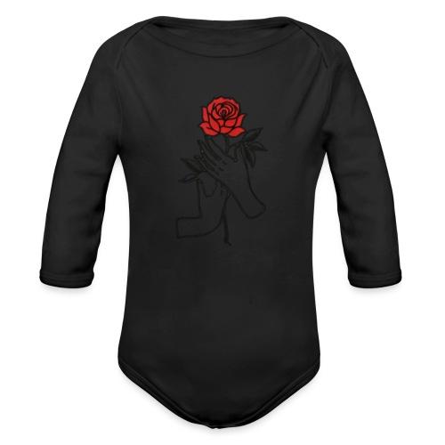 Fiore rosso - Body ecologico per neonato a manica lunga
