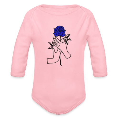 Fiore blu - Body ecologico per neonato a manica lunga