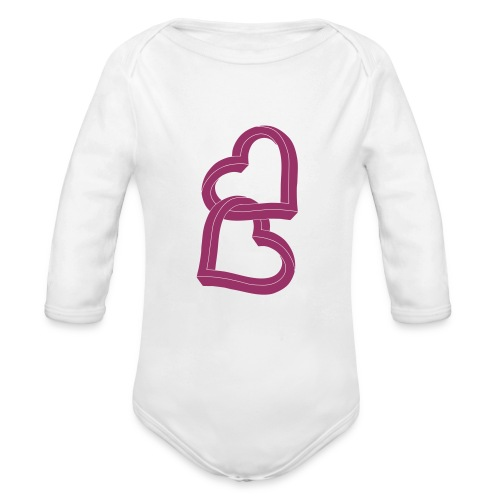 Due cuori uniti ca27 - Body ecologico per neonato a manica lunga