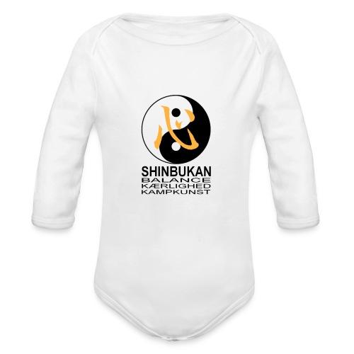 Shinbukan Tai Chi symbol og tegnet Kokoro - Langærmet babybody, økologisk bomuld
