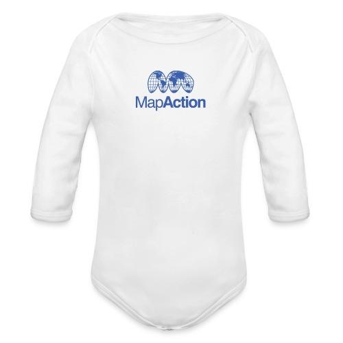 MapAction Blue on transparent - Organic Longsleeve Baby Bodysuit