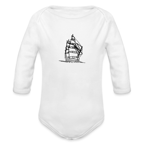 Segelschiff Illustration Meer Schiff Bootsfahrt - Baby Bio-Langarm-Body