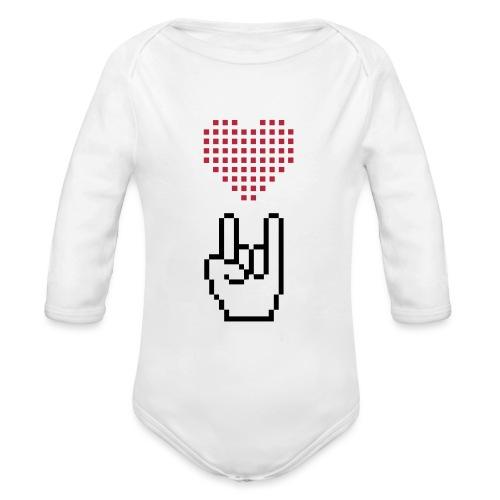 Pixel Love Rock - Baby Bio-Langarm-Body
