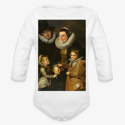 familie-engels2-canvas - Baby bio-rompertje met lange mouwen