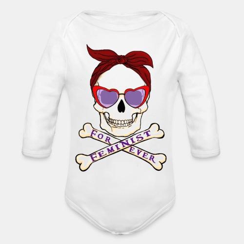 Feminist skull - Body orgánico de manga larga para bebé