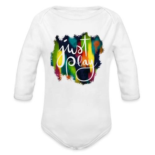 Just Play Lettering auf Farbklecksen - Baby Bio-Langarm-Body