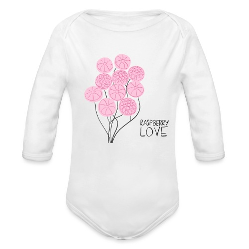 Himbeerbonbon Blumenstrauß - Baby Bio-Langarm-Body