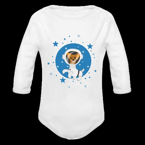 Kleiner Hund im Weltall - Baby Bio-Langarm-Body