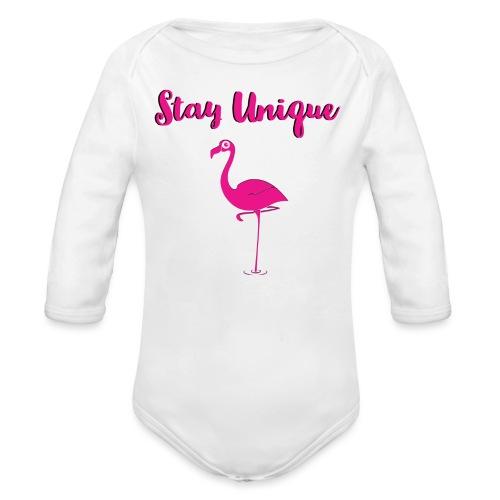 Stay Unique Flamingo - Baby Bio-Langarm-Body