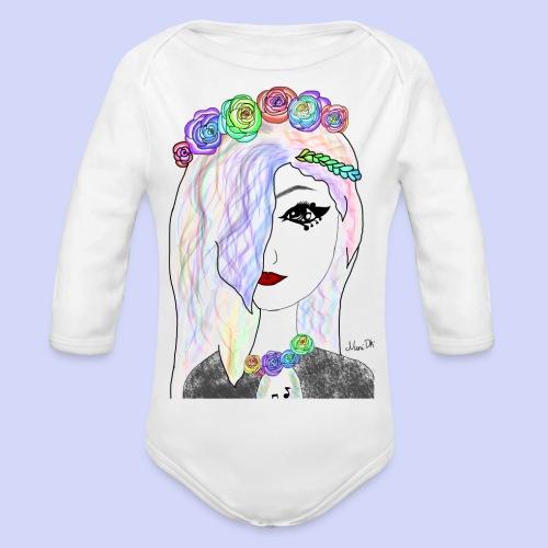 Rainbow flower girl - Female shirt - Langærmet babybody, økologisk bomuld