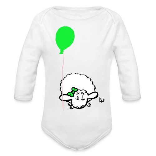 Baby Lamb with balloon (green) - Organic Longsleeve Baby Bodysuit