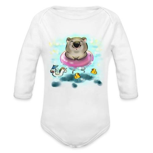 Wombat in Sommerstimmung - Baby Bio-Langarm-Body