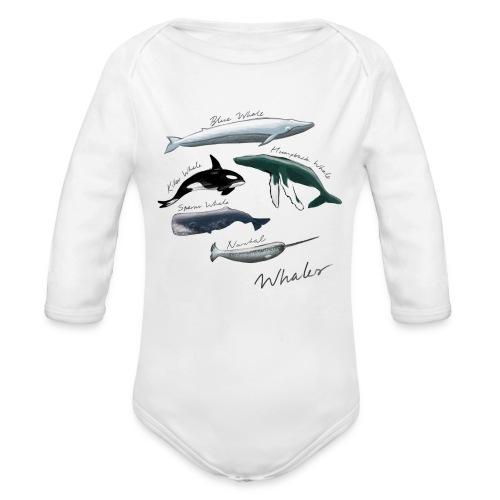 Whales - Organic Longsleeve Baby Bodysuit