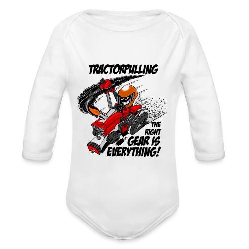 0966 tractorpulling - Baby bio-rompertje met lange mouwen